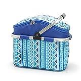 Cestino termico pieghevole isolato per picnic, cestino refrigerato per picnic, cestino per la spesa, cestino per la spesa con manico pieghevole, borsa termica da 26 l, colore: blu