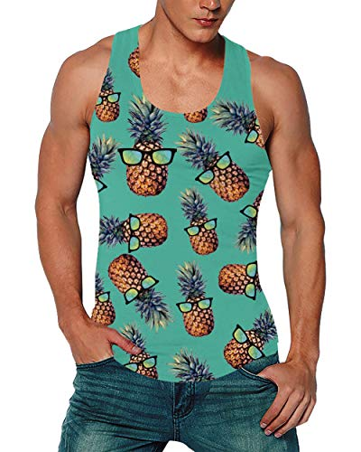Goodstoworld Y Back Tank Tops for Men Gym Muscle Sports Workout Bodybuilding Funny Green Pineapple Vest Tee 3D Fashion Print Sleeveless Under Shirt