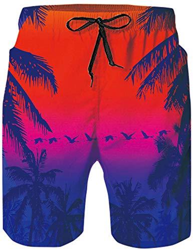 Loveternal Badeshorts Herren Badeanzüge für Männer Badehose Hawaii Strand Kurze Hosen 3D Print Elastische Taille Surfing Badeshorts XXL