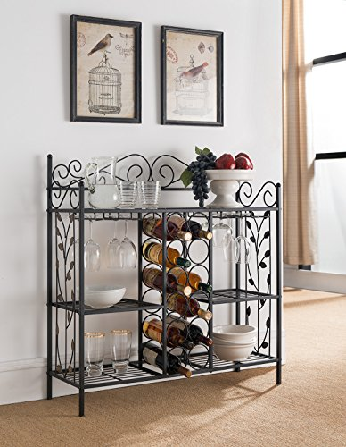 Kings Brand Furniture Metal Console Table Wine Rack Buffet Server