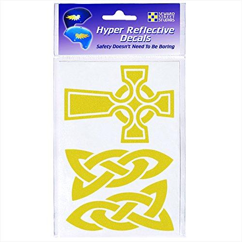 Seward Street Studios Reflective Decals Celtic Cross Set – Celtic Cross Safety Sticker Kit – Celtic Knotwork Reflector Stickers (Yellow)