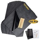 TUPARKA 120 hojas de papel de copia de carbono con 5 piezas de lápiz capacitivo para grabado, papel de transferencia negro para trazado en madera, accesorio de impresión de tatuaje de tela