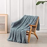 Decorative Extra Soft Faux Fur Blanket Full Size 70'x78',Solid Reversible Fuzzy Lightweight Long Hair Shaggy Blanket,Fluffy Cozy Plush Fleece Comfy Microfiber Fur Blanket for Couch Sofa Bed,Light Gray