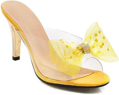 femmeschaussures Sandales pour Femmes, Sweet Bow Femmes Chaussures à Talons Talons extérieurs Demi-Sable Sandales,A,42  en bonne santé