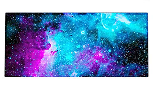 Extended Gaming Mouse Pad Mat Large Desk Mat Non Slip Rubber Base Computer Desktop Laptop Keyboard Mouse Mat with Stitched Edges, 35.1 x 15.75 in Long XXL Waterproof Mousepad for Work Game, Galaxy