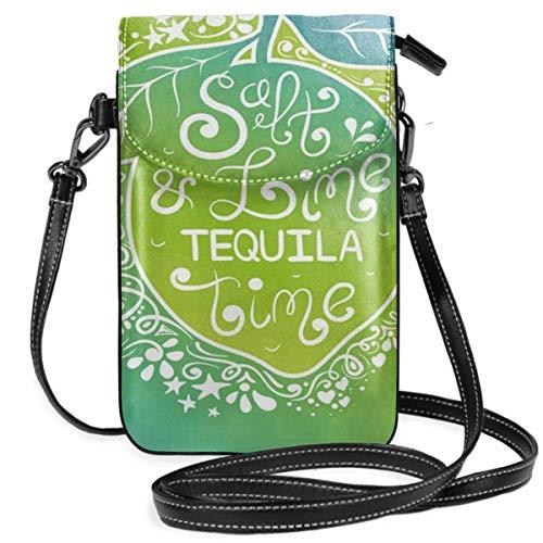NA Frauen kleine Handy Geldbörse Crossbody, Ombre Effekt Umriss künstlerische Flasche Design mit niedlichen Kaktus Piktogramm auf Druck