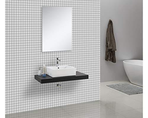 Waschtischkonsole OCEAN 100 x 50 cm Echtholz schwarz, Badezimmer Badmöbel Waschbecken Bad Waschtisch Echtholz
