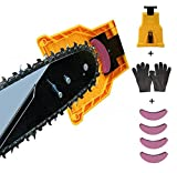Chainsaw Sharpener, Fast Portable Bar Mount Chain Saw Tool Blade Wedge, 14/16/18/20 Inch Chainsaw Teeth Sharpener, Bar Mounted Stone Grinder with 4 Whetstones and 1 Pair Work Gloves