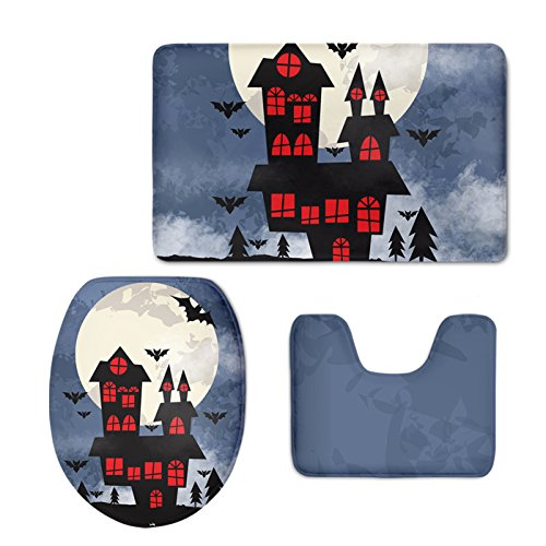 Haunted House Washroom Halloween Bath Rugs Set