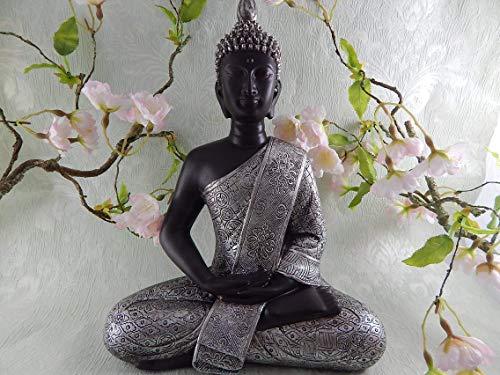 Buddha-Figur meditierend sitzend, 29 cm in schwarz Silber, mit feiner Struktur gemuster, Deko-Artikel Wohnung & Haus, Buddha-Skulptur, Wohnaccessoire, Statue