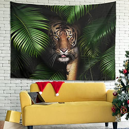 Tropical Rainforest Tiger Wall Hanging Tapestry Bohemian Tapestry Magic Wall Blanket Sofa Cover Bedroom White5 150 x 130 cm