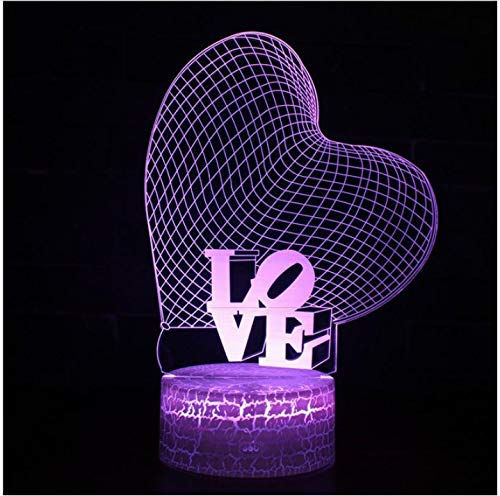 Love Heart Shape Valentine's Day Mother's Day Father's Day 7 Color 3D Led Night Lamps Touch Led USB Table Night Light Kingship