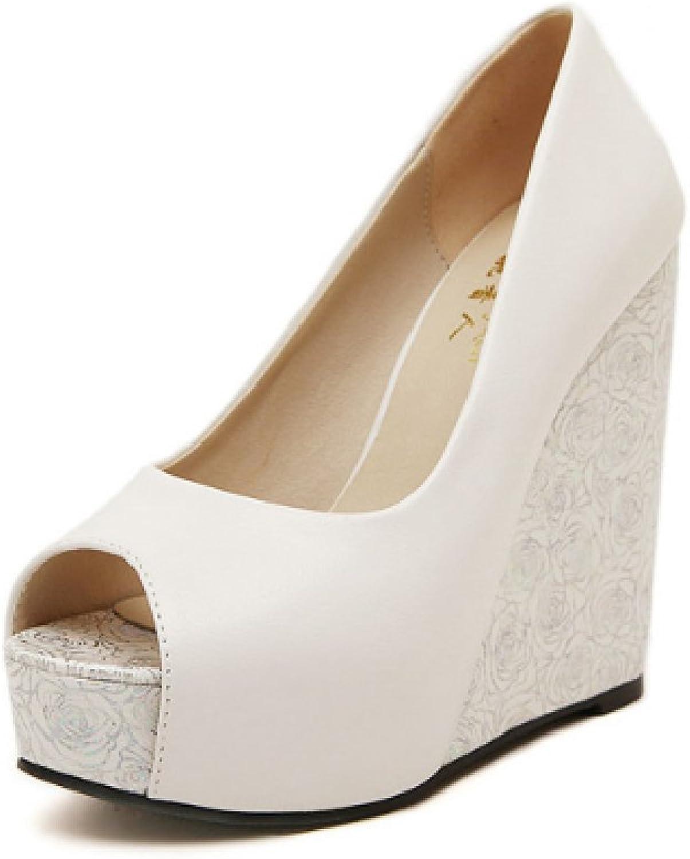 Btrada Women's Peep Toe Wedge Sandals Sexy Lace High Heel Platforms Pull-on Pumps Anti-Slip Dress shoes