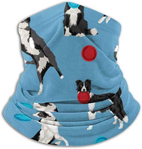 De Li Sheng Schlauchschal Herren,Halswärmer Warm Border Collie Disc Dog Agility Dog Border Collie Black and White Border Blue Ski Cold Weather Face Neck Warmer Fleece Hood Winter Hats