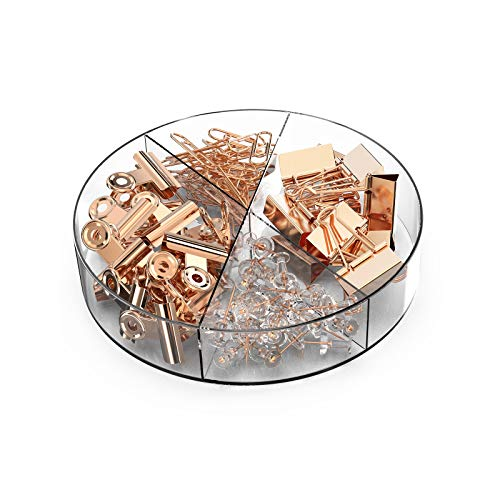 BYLaconic 100 Pcs Binder Clips Sets, Binder Clips Bulldog Clips and Paper Clips Push Pins Sets with Box for Office Stationery/Home/School Supplies - Rose Gold