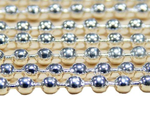 Perlin 5 Meter Gliederkette Link Kette Metallkette Kugelkette Rund 2,5mm Silber Ball Schmuckkette Meterware zur Schmuckherstellung von Halsketten Armband DIY Basteln K30