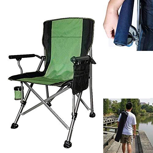 Tragbarer Campingstuhl Klappbar, tragbarer Strandkorb mit Becherhaltertasche und Harter Armlehne Stützen 150 kg für Outdoor, Camp, Picknick, Wandern