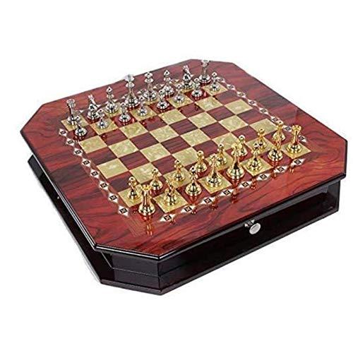 UNU_YAN Moderne Einfachheit antike Schach-Set-Brett-Spiel-Stücke Vintage High-End-Schachbrett High-End-Puzzle-Brettspiel