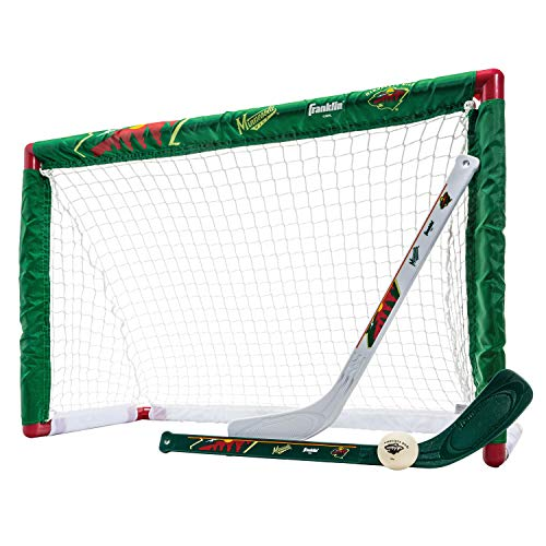 Franklin Sports Minnesota Wild Mini Hockey Set - Knee Hockey Goal, Ball, & 2 Hockey Stick Combo Set - Mini Goal Net - NHL Official Hockey Set