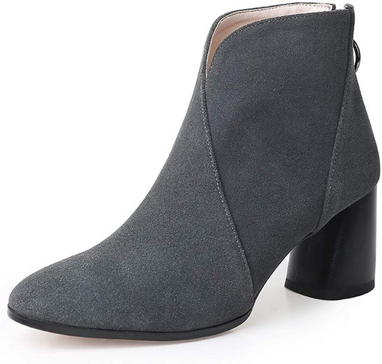 AdeeSu Womens Nubuck Solid Kitten-Heels Urethane Boots SXE04420
