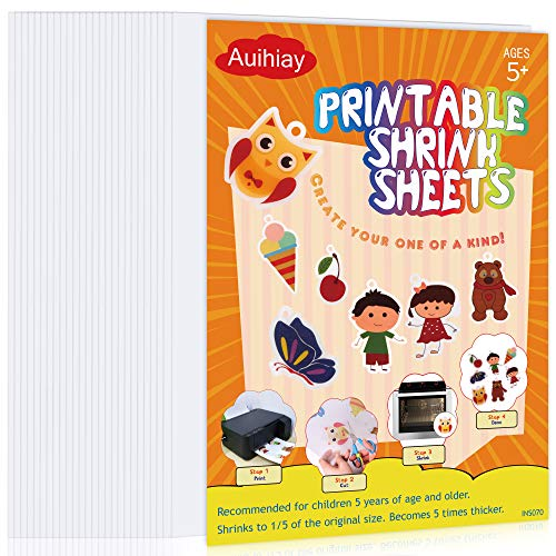Auihiay 25 Sheets White Printable Shrink Plastic Sheets, Shrink Films Papers for Inkjet Printer Kids DIY Art and Craft Activity, 8.3 x 11.6 inch / 21 x 29.5 cm