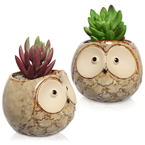 Set of 2 Owl Design Small Brown Ceramic Plant Flower Container Pots/Window Sill Decorative Planters