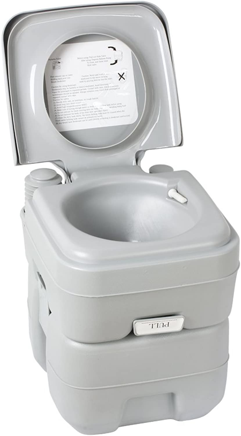 Flexzion Portable Camping Toilet 5 Gallon Recreation Flush Potty Commode 20L Capacity Sanitation Supply for Outdoor Indoor Caravan Boats Travel Hiking