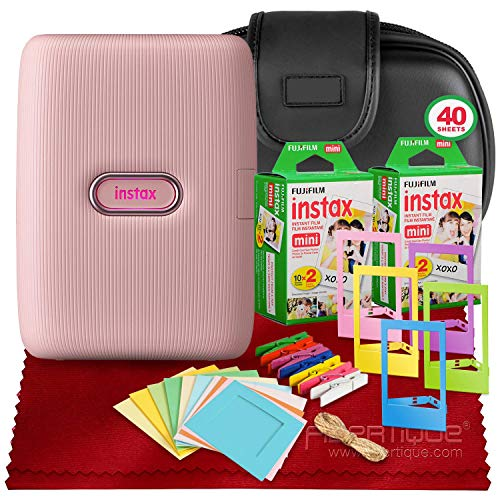 Great Deal! FUJIFILM INSTAX Mini Link Smartphone Printer (Dusky Pink) + 2X Fujifilm Instax Mini Twin...