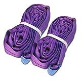 Eslingas profesionales redondas, 1 t, 2 m de circunferencia, ENorm1492-2, lila (juego de 2)