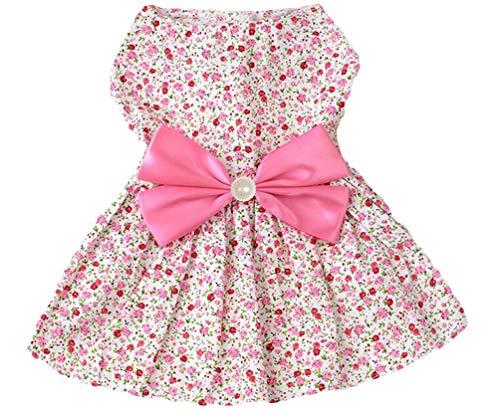 Petroom Sweetie Hundekleid, süßes Hemd mit Schleife, für kleine Mädchen (Pink, XXS