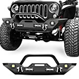 2014 jeep wrangler bumper - Nilight Front Bumper Compatible for 07-18 Jeep Wrangler JK & Unlimited Rock Crawler Bumper with 4 x LED Lights, Winch Plate and 2 x D-Rings,Upgraded Textured Black,2 Years Warranty