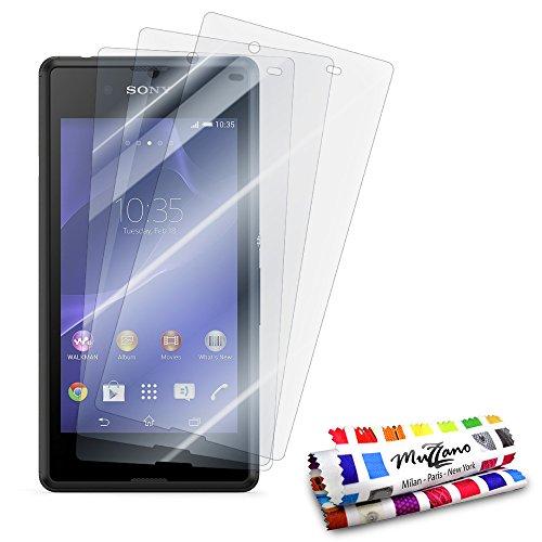Muzzano - Set di 3 pellicole protettive per display ultra trasparenti, per cellulare/tablet SONY D2206 trasparente