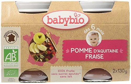 Babybio Pots Pomme d'Aquitaine Fraise 260 g - Lot de 6