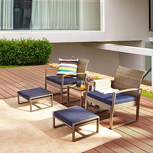 LOKATSE HOME 5-Piece Wicker Outdoor Conversation Set Patio Furniture PE Rattan All Weather Cushioned Chairs Balcony Porch with Ottoman and Glass Coffee Side Table, Blue