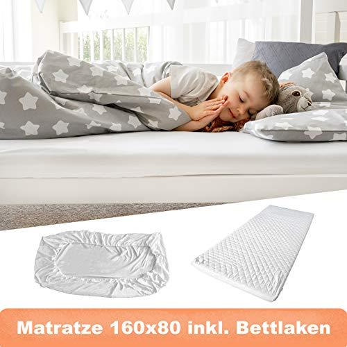 Alcube Set aus Matratze (80x160 cm) und Spannbettlaken, mit abnehmbaren, waschbarem Bezug