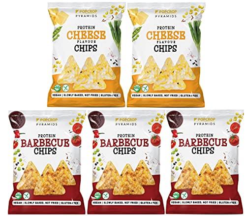 POPCROP Party-Mix Box 5 paczek Chipsów PROTEINOWYCH po 60g (5 x Wegański Ser i Cebula, 5 x BARBECUE) Bezglutenowe, Wegańskie Chipsy powoli wypiekane z pełnych ziaren zbóż i warzyw (nie smażone)|300 g