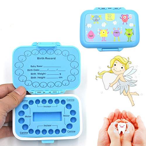 Zahnbox Zahndose für Kinder | Baby Teeth Keepsake Box |Zahn Aufbewahrungshalter Organizer | Milchzahndose Milchzahnbox für Milchzähne als Geschenk Einschulung Geburt (blue)