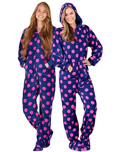 Footed Pajamas - Navy Pink Polka Adult Hoodie Chenille Onesie (Adult - Medium Plus/Wide (Fits 5'8-5'11'))