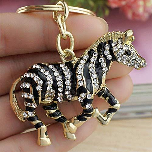 BYBDYSK Sleutelhanger Zwart Zebra Paard Crystal Strass Metalen Tas Hanger Sleutelhangers Houder Vrouwen Sleutelhangers Voor Auto