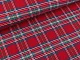 Quality Textiles Baumwollflanell Katty rot-Jeansblau-weiß