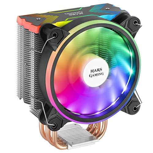 MARSGAMING MCPUX, Disipador CPU Negro, TDP 180W, Dual ARGB, Silencioso PWM 12cm