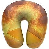 Simone-Shop Almohada de Cuello en Forma de U de lingotes de Oro Fuego Almohada de Viaje Suave para el Cuello para el hogar, Almohada en Forma de U para Dolor de Cuello 29 * 30 * 10 cm