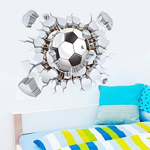 Vovotrade - Adesivo da parete effetto 3D, motivo Pallone da calcio, per camera o salotto