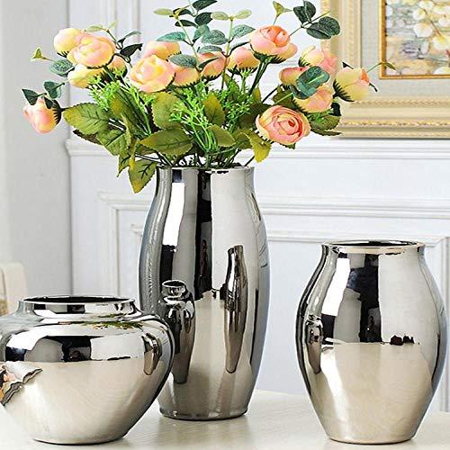Vase Silber Vase Zu Hause Wohnzimmer Tv-Schrank Weinschrank Dekoration Ornamente Weiche Kunst Keramik Vergoldete Vase Keramik Vase D (Noflower)