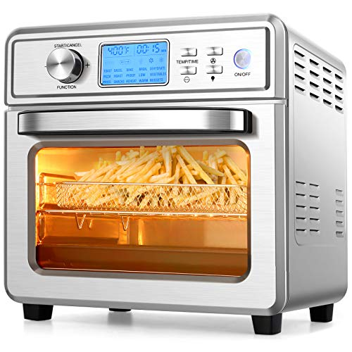 COOCHEER 16 in 1 Air Fryer Oven, 21QT Convection Air Fryer Toaster Oven Combo with LED Display/Temperature/Time Dial, 1700W Large Airfryer Oven,Oil Less/Stainless Steel,For Bake,Broil,Dehydrator