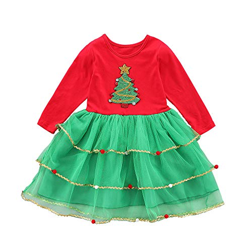 Toddler Kids Baby Girls Outfits Christmas Tree Dress Red Green Tutu Skirt Clothes Set Winter