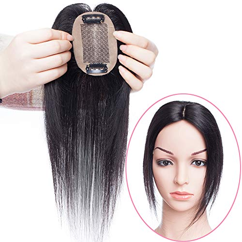 Hair Topper da Donna Extension Clip Capelli Veri Parrucca #1B Nero Naturale - 25cm Remy Indian Human Hair Toupee Toupet Silk Top Base 6cm x 9cm 110% Density 20g