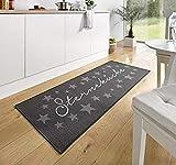 Küchenläufer Küchenmatte Läufer Dekoläufer Schmutzfangmatte Teppiche Teppich für Küche Sterne Sterneküche Sternenküche anthrazit - grau - Deko Küchenteppiche Küchendeko - ca. 67 x 180 cm