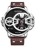 Alienwork Herren-Armbanduhr Quarz Silber mit Lederarmband braun Kalender Datum schwarz XL Über-große