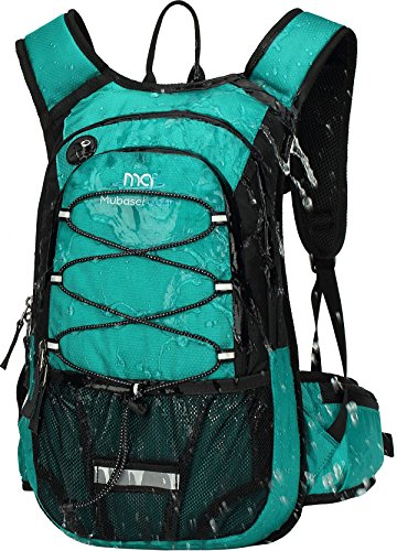 Mubasel Gear Insulated Hydration Backpack Pack with 2L BPA Free Bladder - Keeps Liquid Cool up to 4 Hours – for Running, Hiking, Cycling, Camping (Emerald)